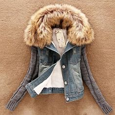 Women's Knit Sleeve Denim Coat with Faux Fur Collar
