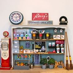 Tutorial for making this fun DIY hardware store and gas station complete with coffee machine, paint store and lots of interactive play areas.