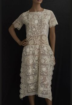 Hand-embroidered lace tea dress, c.1923