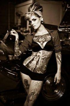 tattoo women, full body, body tattoos, art, pin up tattoos