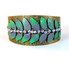 Verdigris Leaf Purple Etched Cuff Bracelet by lovelandshadetree, $42.00