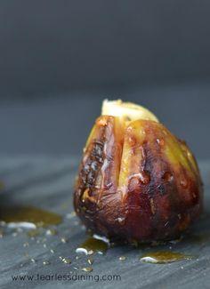 Figs single darkGrilled Brie Stuffed Figs with Honey   http://www.fearlessdining.com  #figs #stuffed figs #glutenfree
