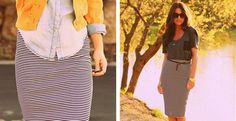 Striped knit pencil skirt!