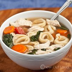 Chicken and Vegetable Tortellini Soup - Perfect tasty weeknight meal for fall/winter.