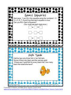 FREEBIE Math Brain Teaser Cards - math that will tease their brains! :)