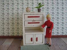 Wooden Dollhouse Kitchen Cupboard   One Inch Scale by TheToyBox, $40.00