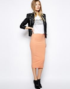 ASOS Midi Pencil Skirt In Jersey (coral - cotton)
