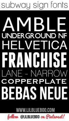 Subway Art Sign Fonts via lilblueboo.com (links in post) #fonts #subwayart #diy #tutorial #typography