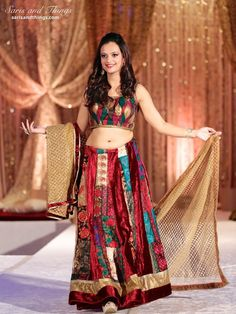 Saris and Things gold ethnic patchwork lengha