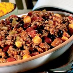 Three-Bean Turkey Chili (WW 7+, if serves 8)  *Delicious topped with fat free sour cream (1 T./ 1+), Kraft Mexican Cheese Blend (2 T./ 1+), diced green onions (0+) = totals 9+ with these additions black beans, beef, chilis, diet foods, tequila chili, chili recipes, turkey chili, ground turkey, chickpeas