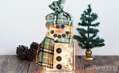 DIY: How to make a lighted glass block snowman