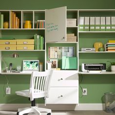 Great home office layout--love the dry erase board as a cabinet door.