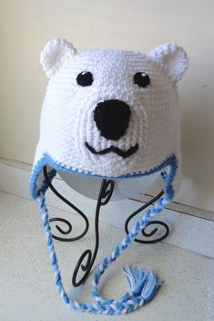 Hand Crochet Polar Shirokuma Bear Hat with ear flap by scotako, $25.00