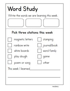 Daily 5 Word Work Idea