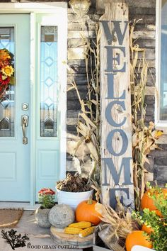 Fall Porch and Diy Reclaimed Wood Welcome Sign