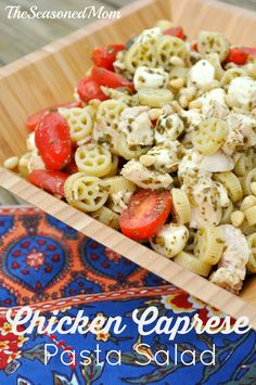Chicken Caprese Pasta Salad on MyRecipeMagic.com:Chicken, fresh mozzarella, sweet tomatoes, and crunchy pine nuts are all tossed together with pesto-coated pasta -- perfect for a summer potluck or make-ahead dinner!