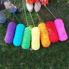 Rainbow Treasure Hunt - Hide a bunch of golden chocolate coins at the end of the rainbow yarn trail and the kids will love it