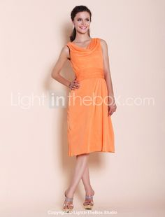 A-line Cowl Knee-length Chiffon Bridesmaid Dress (comes in a lot of different colors)