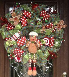 Deco Mesh GINGERBREAD CHRISTMAS WREATH by decoglitz on Etsy