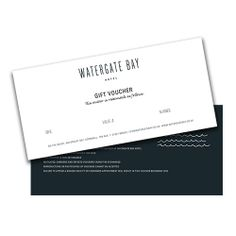 Watergate Bay gift vouchers  The perfect gift for anyone who loves to visit the bay.Our vouchers can be used at the hotel, Swim Club,The Beach Hut or the Extreme Academy. £25-£250