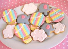 Hot Air balloon and elephant baby shower cookies