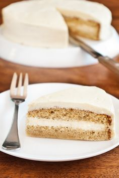 brown sugar sponge cake with cream cheese icing.