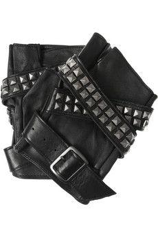Avery studded leather fingerless gloves