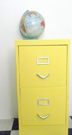 Painted filing cabinet.