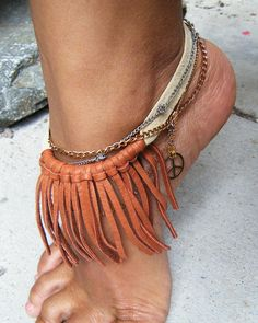 Fringe Bohemian Anklet, Chain Anklet, Peace Anklet, Leather Anklet, Bohemian Jewelry, Tribal