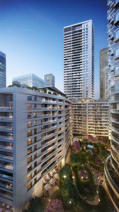 meuron wood, wood wharf, de meuron, residenti tower, architecture, canari wharf, design, 3d architectur, wharf residenti