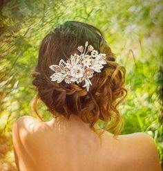 Maia Ivory & Honey Bridal Headpiece comb Silk by PetiteLumiereCo