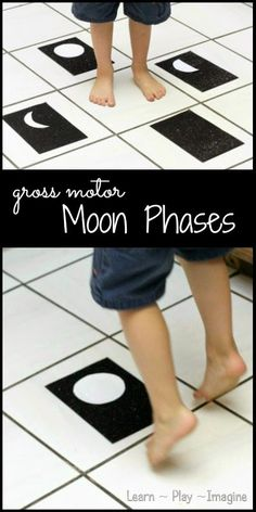 Learn about the phases of the moon with a gross motor game!  This easy to set up game has a couple simple variations and is easily adaptable for any age.
