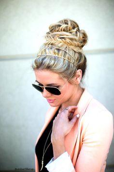 Fishtail bun. // Barefoot Blonde hair...love the headband!! Plus aviators. Perf