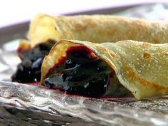 Blueberry Lemon Crepes with Custard Sauce