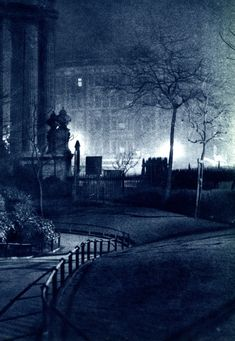 "London in the 1930s. Deserted paths. Path outside St Paul's Cathedral. From ""London Night"" – John Morrison and Harold Burkedin, 1934. Captions by Dave Walker."