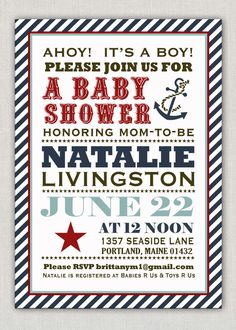 Anchors Away Nautical Baby Shower #anchor #stripes #nautical #navy #pinparty