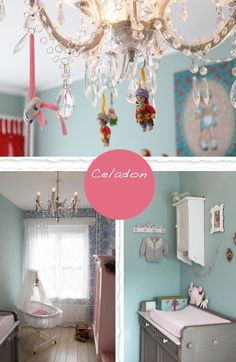 very cute.  soft accent wall(wallpaper or stencil) with whimsy baby accents