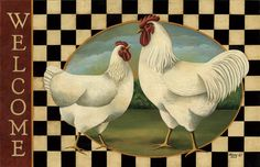 Country Farmhouse Folk Art Chicken ROOSTER HEN WELCOME Rug Mat Non Skid