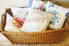 The Farmhouse Porch: Spring Entry Way ~ Flour sack pillow