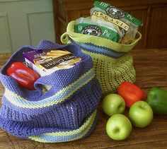 free pattern, knitting patterns, knitted bags, fabric bags, grocery bags