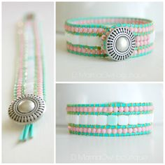 Shows cord ends on button side of bracelet. Pastel Czech beads and Tan Natural Leather Triple Row Beaded Cuff Wrap Bracelet