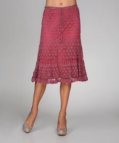 Take a look at the Ananda's Collection Dusty Rose Crocheted Tie-Waist Skirt on #zulily today!