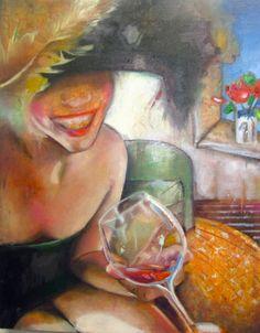 I Love Wine original oil painting on canvas by StudioJulietteB, $490.00