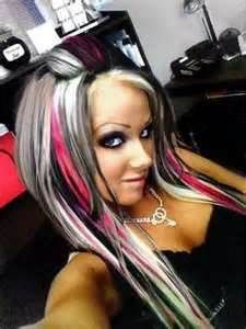 Platinum and pink highlights....more black less blond and this would be so cute!