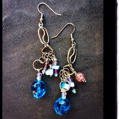 Blue stone with multi color beads and silver findings earrings