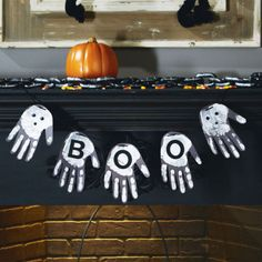 """""""Boo"""" Handprint Garland - this hands on Halloween garland is fun and easy to create"""