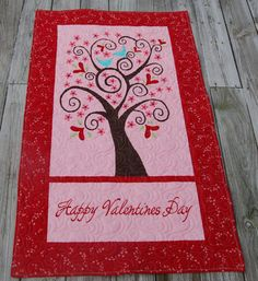 Valentine quilted Wall Hanging Table Runner Moda Wall by rooee