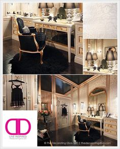 NYC Holiday House: Sophisticated Parisian Inspired Dressing Room Design by Claudia Giselle | The Decorating Diva, LLC