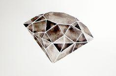GEOMETRIC - WATERCOLOR PAINTING - Original - Black - White - Gray - Mid Century Modern - Diamond. , via Etsy.