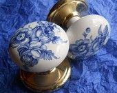 Blue rose porcelain door knobs.